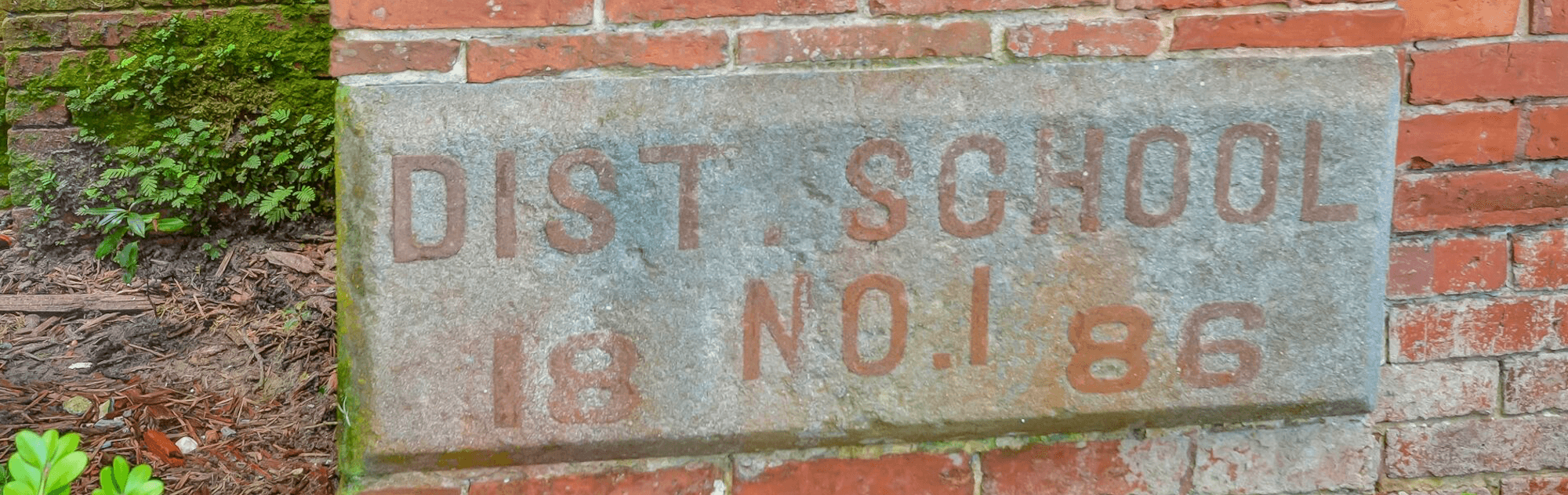 Amelia Schoolhouse district school 18 brick sign