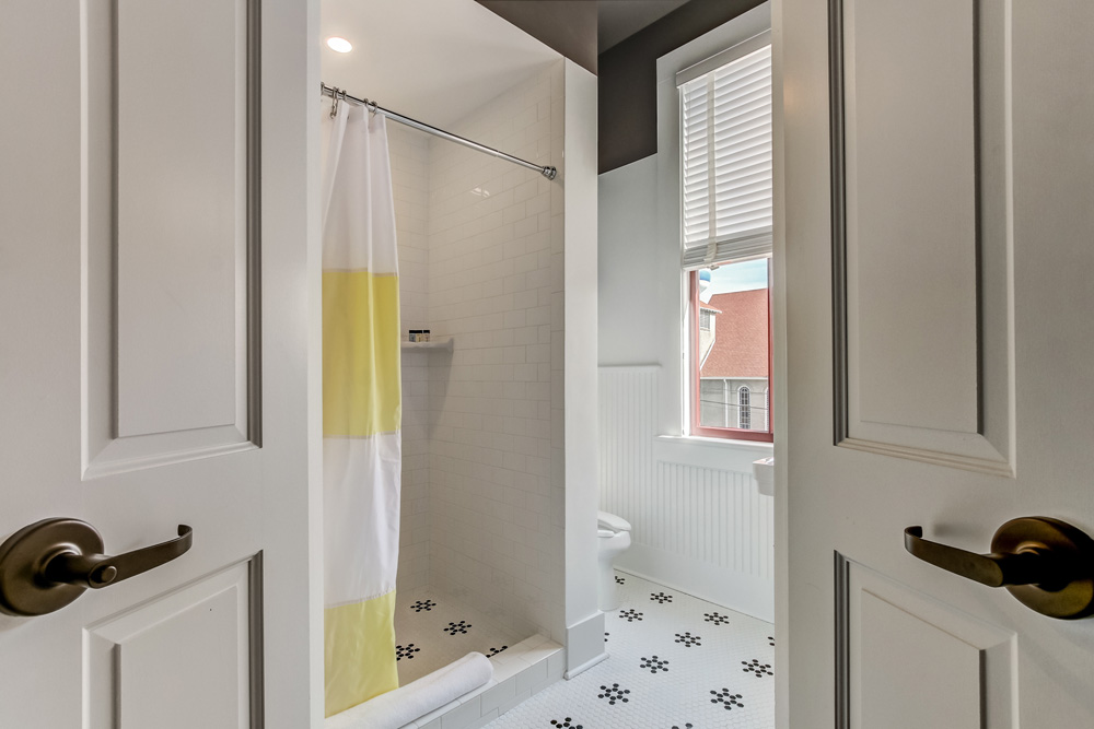 The classic king suite features a bright, clean bathroom